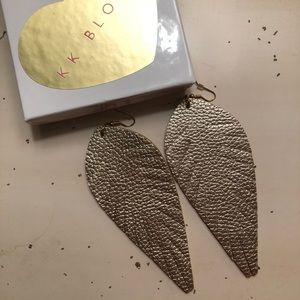 Large Feather Leather Earrings